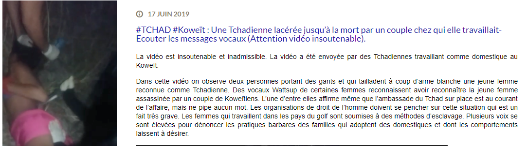 Capture d'écran du site web tchadien qui a relayé la vidéo.
